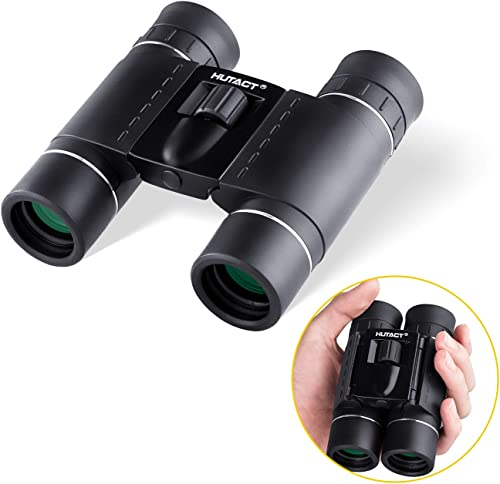 HUTACT 10×25 Bincoualrs for Adults Kids, Lightweight with Compact Size Ideal for Bird Watching, Hunting, Small Mini Binoculars with a Carrying Bag
