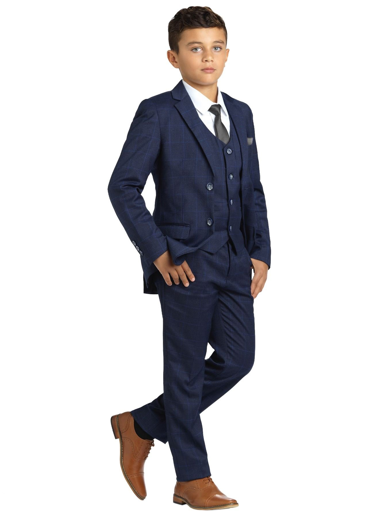 Paisley of London, Henry Navy Check Occasion Wear, Boys Navy Wedding Slim Fit Suit with Shirt and Vest, 20