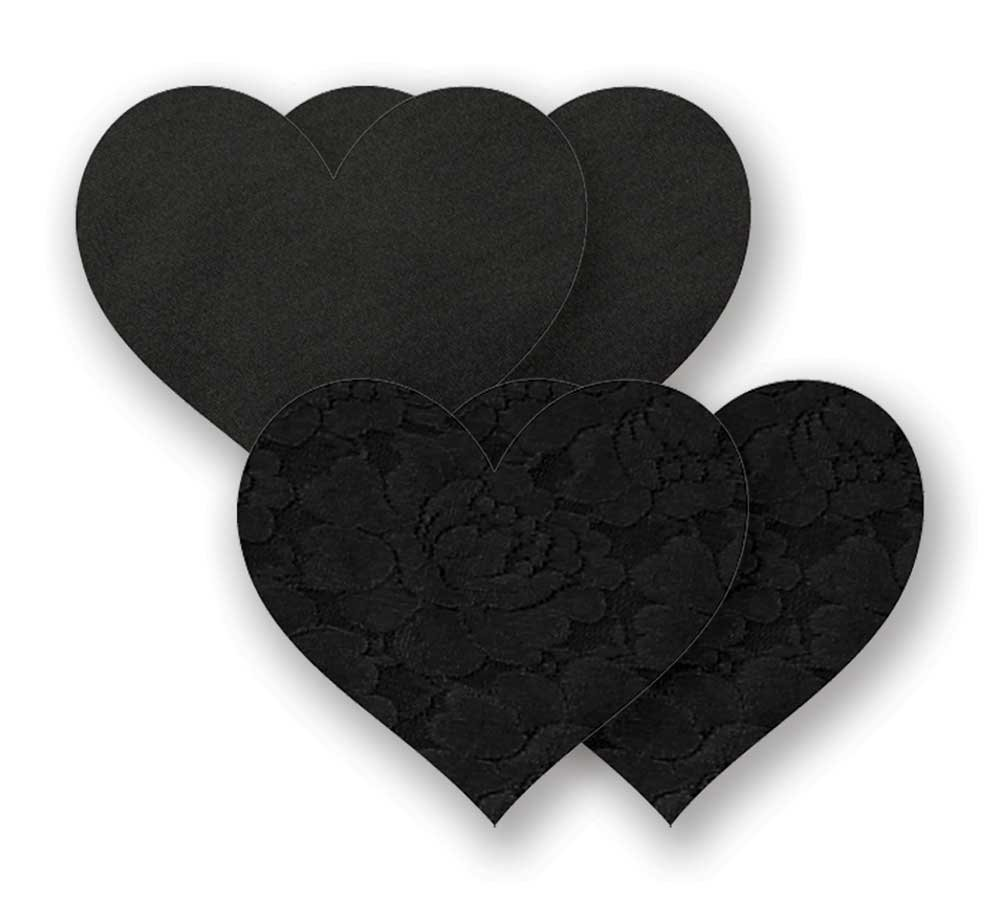 Nippies Black Heart Waterproof Adhesive Fabric Nipple Cover Pasties Size C NS0H01C