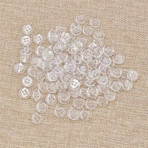 (100pcs/lot Sewing Buttons 2/4 Hole Clear Shirt Button Sew Crafts Accessory (Model - 4-Holes))
