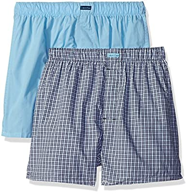 Calvin Klein Men's 2 Pack Cotton Classic Traditional Fit Woven Boxer