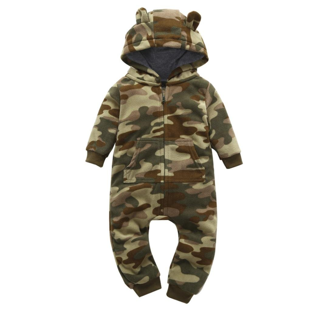 Winsummer Newborn Baby Boy Girl Cotton Fleece Camouflage Hooded Romper Jumpsuit Tracksuit Outfits (Camouflage, 9-12M)