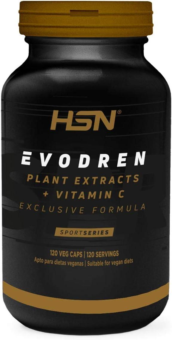Evodren de HSN Sports | 100% Natural Extractos Herbales | Diuretico Adelgazante, Drenante, Retención de Líquidos, Depurativo | Vegano, Sin Gluten, Sin Lactosa, 120 cápsulas vegetales