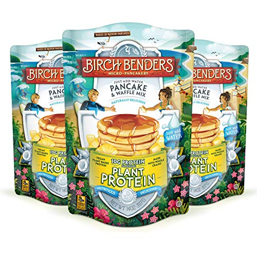 Birch Benders Plant Protein Pancake & Waffle Mix, All Natural, No Added Sugar, 10g Protein, Whole Grain, Family Size, 3 Pack, 14 Oz
