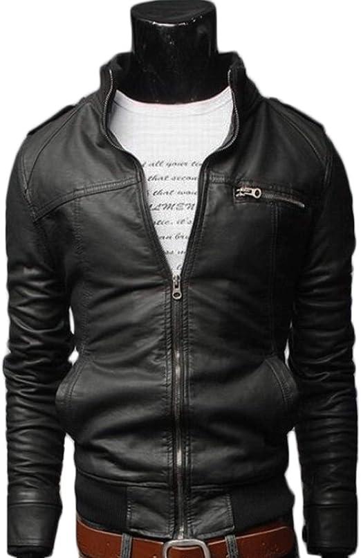 Mens Retro Style Zipped Biker Jacket PU Leather Soft Black Casual