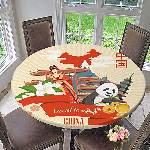 PINAFORE HOME The Round Table Cloth China Travel Vector Chinese Set with Architecture Food Costumes Traditional for Birthday Party, Graduation Party 35.5