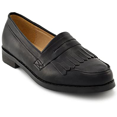 85547c4c98a7 ESSEX GLAM Womens Black Loafers Fringe Flat Ladies Office Work School  Casual Pumps Shoes  Amazon.co.uk  Shoes   Bags