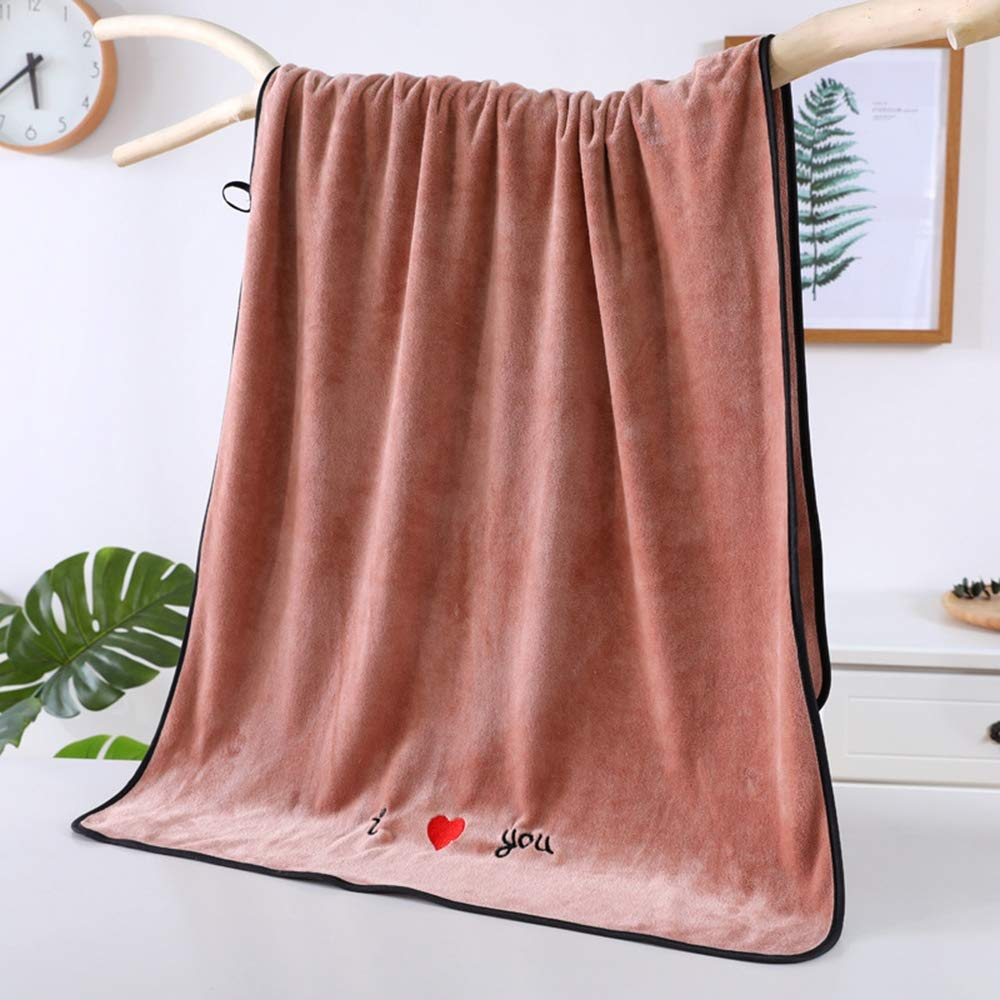 ZZW Dormitory Essentials, Microfiber Soft Thickening, Absorbent, Large Bath Towel, Easy to Wash, Suitable for Daily Use,Brown