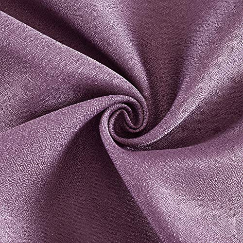 DWCN Semi Sheer Curtains Faux Linen Sunlight Filtering Grommets Country Modern Style Purple Drapes, Set of 2 52x84 Inch Long Window Curtain for Bedroom