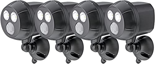 Mr. Beams MB394 300-Lumen Weatherproof Wireless Battery Powered LED Ultra Bright Spotlight with Motion Sensor, Brown Pack of 4