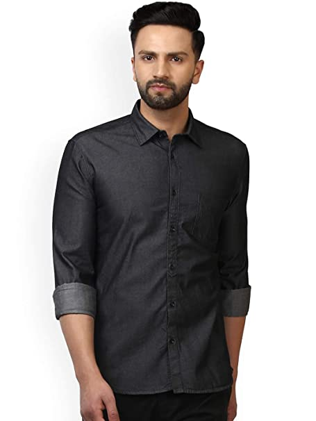 2405616590 Delvinbroad Men s Denim Charcoal Black Shirt  Amazon.in  Clothing    Accessories