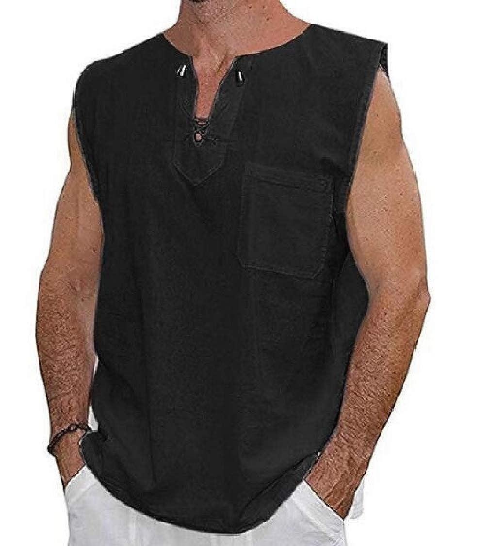 Nanquan Men Plus Size Summer Solid V-Neck Lace-up Linen Cotton Sleeveless Tank Tops