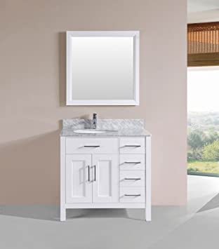 Merveilleux Belvedere Bathroom Vanity With Marble Sink Top And Backsplash, 36 Inch,  White