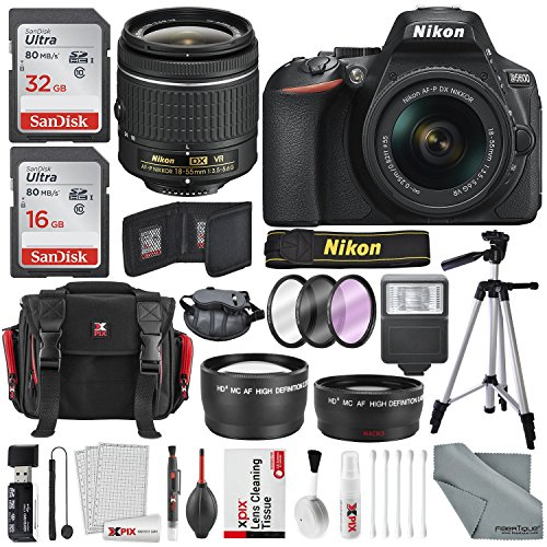 Nikon D5600 DSLR Camera And 18-55mm Lens Kit W/ Total of 48 GB Memory Card + Telephoto & Wideangle Lens + Xpix Lens Handling Accessories with Basic Bundle
