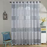 ChezMax Jacquard Weave Pattern Grommet Window Treatments Sheer Drapes and Curtains 118″ W x 106″ L Grey 2 Panels Review