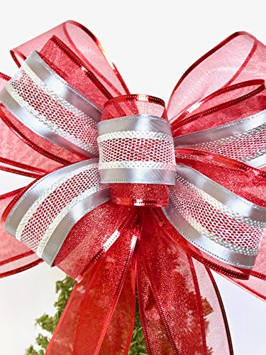 Christmas Bow Wreath Hanger - Wreath Bow, Red and Silver Tree Topper, Large Gift Bow, Wreath Bows, Holiday Bow, Home Decor, Christmas Bows, Swag Bow,- Handmade Bow