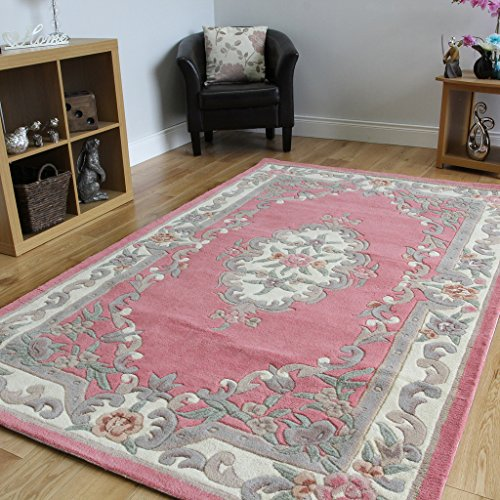 Tufted Aubusson Rug (100% Wool Baby Pink Shabby Chic Traditional Aubusson Design Rug - 2'5