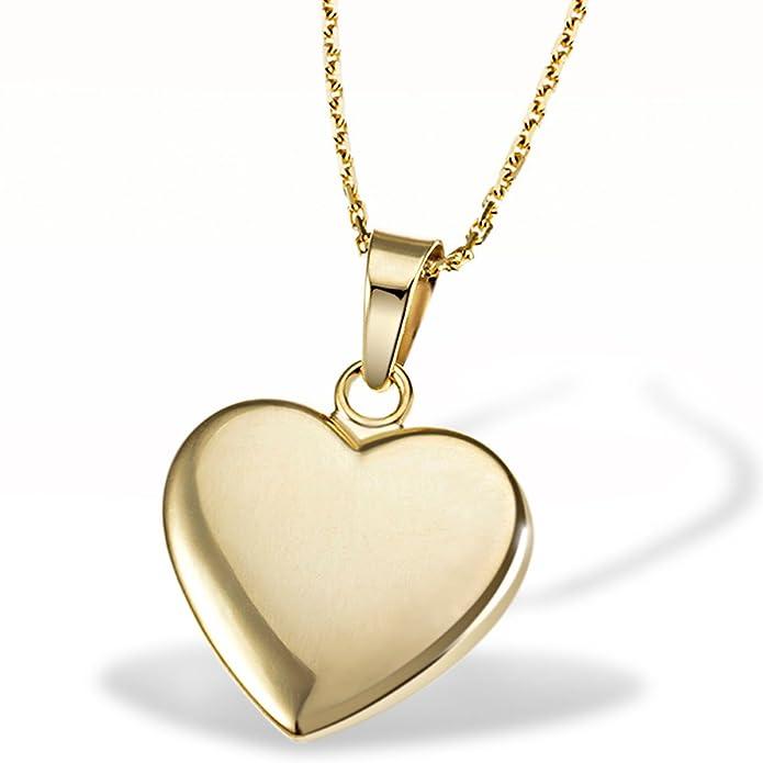 Goldmaid Women's 9 Carat Tri-Colour Gold Heart Necklace 45 cm qFnUYVL