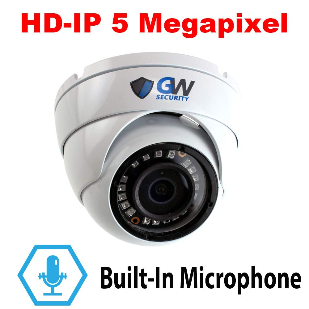 GW Security 5 Megapixel HD 1920P Network PoE 1080P Security Dome IP Camera Built-In Microphone, Audio Recording, Power Over Ethernet
