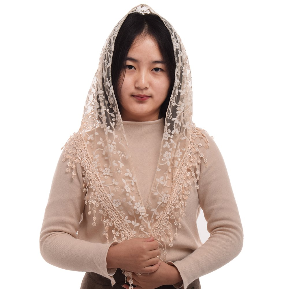 BLESSUME 1pc Women Triangle Pattern Veil Classic Mantilla Soft Lace Chapel Veil