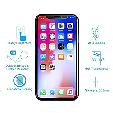 3e68c5f1ac5503 TEC UK - Protector for iPhone Xs/X [1 Pack] [Tempered Glass ...