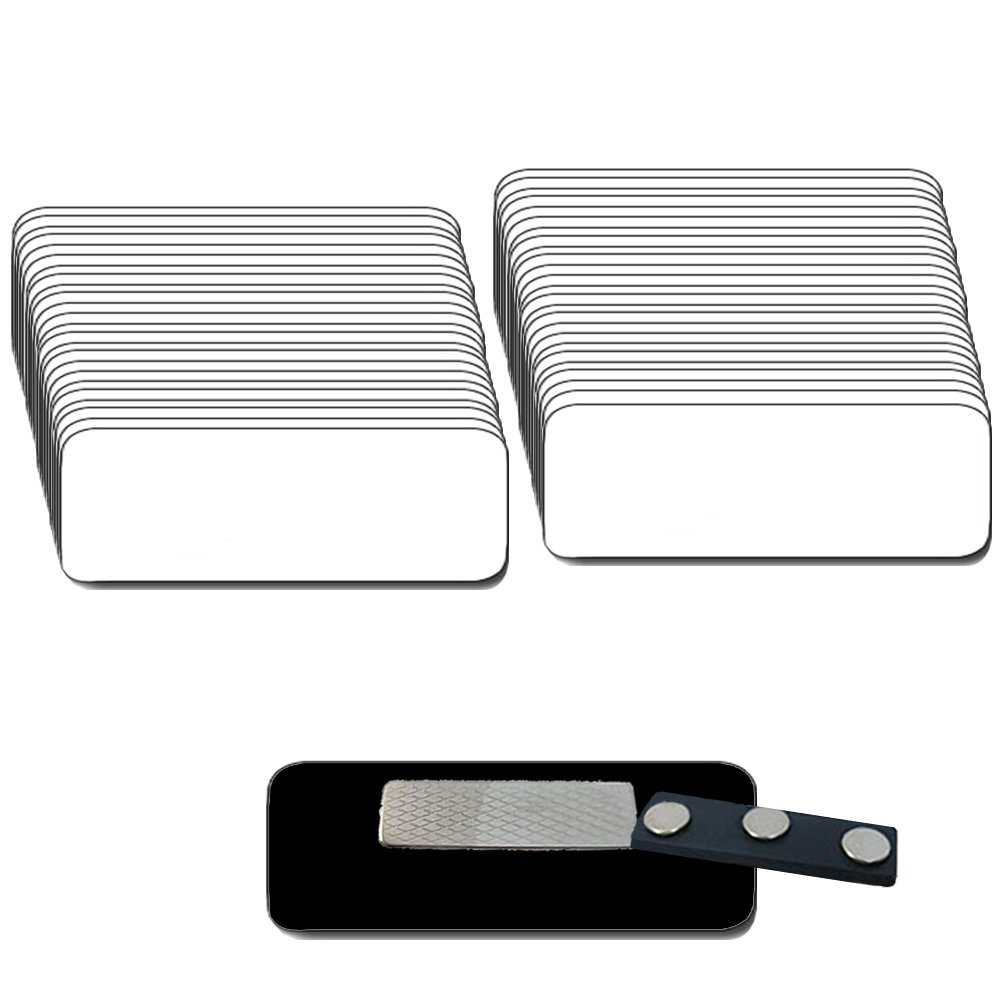 Magnetic Name Badges with Super Neodymium Strong Magnetic Fastener - 50 pack Kit Includes Crystal Clear Gloss Printable Labels - White Name Badges with 1/4th Rounded Corners 1.25 X 3 Inch size