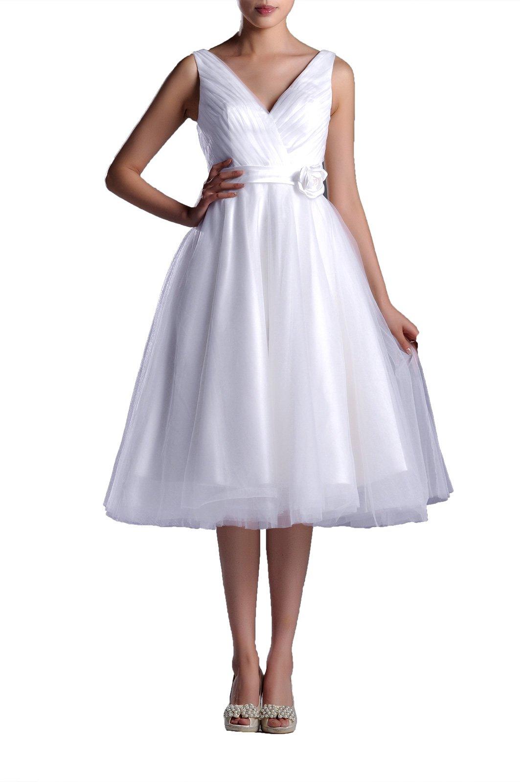 Wedding Dresses V-Neck Bridal Gowns Simple A-Line Tea Length Wedding Dress Bride Short, Color White,2