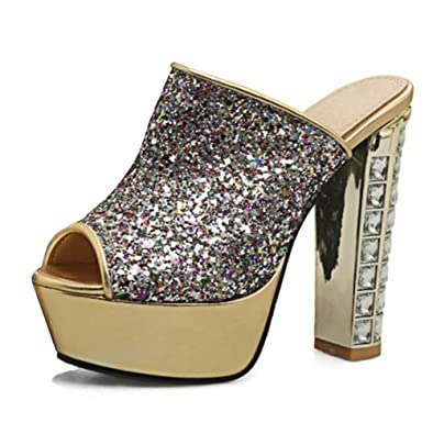f87a53bfe5 Easemax Women's Sexy Sequins Rhinestones Peep Toe No Closure Platform High  Chunky Heel Sandals Gold 4