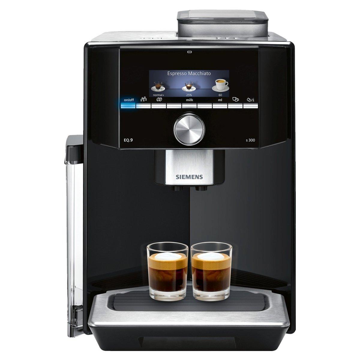 Siemens TI903509DE per caffè espresso automatica EQ.9S300, 19Bar, sistema di riscaldamento intelligente, Auto Milk Clean, Super Silent, Nero/Acciaio Inox senza filtro acqua argento 19Bar