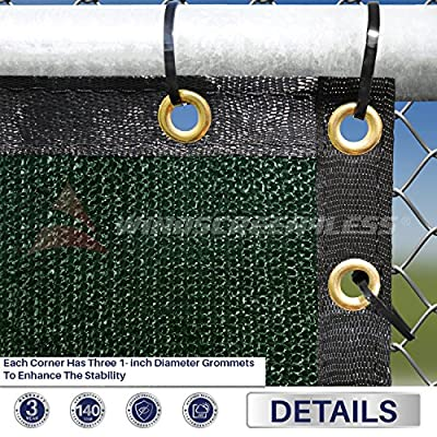 Windscreen4less Heavy Duty Privacy Screen Fence in Color Solid Green 5' x 50' Brass Grommets w/3-Year Warranty 140 GSM (Customized Sizes Available)