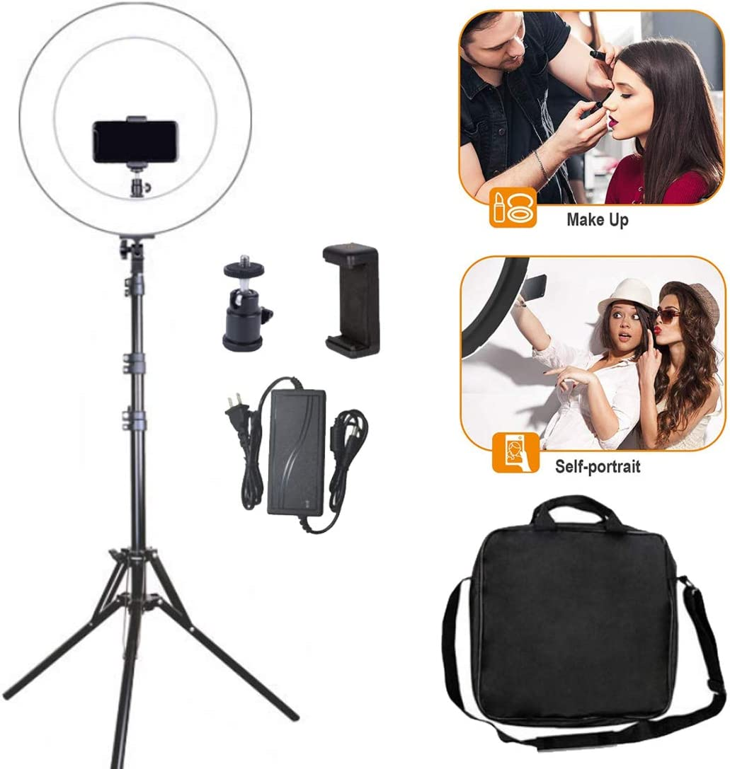 0/%-100 DLMPT LED Ring Make Up Light with Tripod Ringlight Make Up Light Adjustable Brightness Ring Light Lighting Kit for Live Stream Makeup YouTube Selfie,A,Withremotecontrol