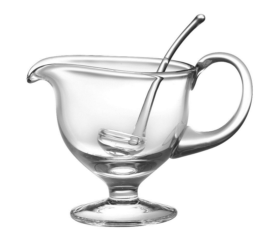 Barski- Glass - Gravy Boat with Ladle - Gravy is 8.5'' L - 5''H - Ladle is 5.5''L - 12.5 oz - Handmade Glass - Made in Europe