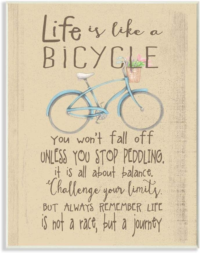 The Kids Room by Stupell Life is Like a Bicycle' Icon Inspirational Typography Wall Plaque Art, 10x15