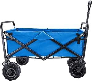 Garden Carts Folding Shopping Trolley Portable Four-Wheeled Trolley Camping Trolley,Blue
