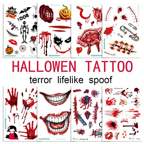 2019 ChristmasTemporary Tattoos Horror Halloween Makeup Tattoos Fake Blood Lips Scars Pumpkin Tattoos with Fake Scab Blood