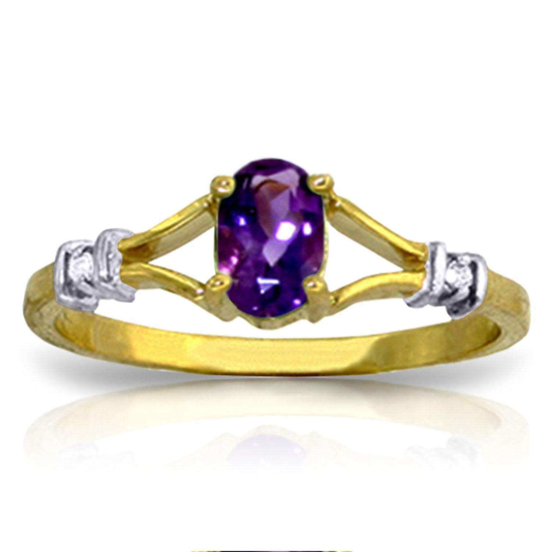 ALARRI 0.46 CTW 14K Solid Gold Love Not Hazardous Amethyst Diamond Ring With Ring Size 9.5