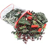 Baoblaze 519PCs Army Men Action Figures WWII Military Playset with Toy Tanks, Planes, Flags, Soldier Figures, Fences…