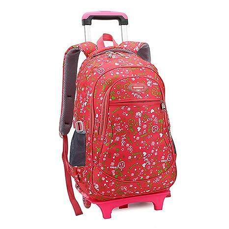 Lalawow Mochila escolar con ruedas de nylon para los alumnos de primaria (Rojo)