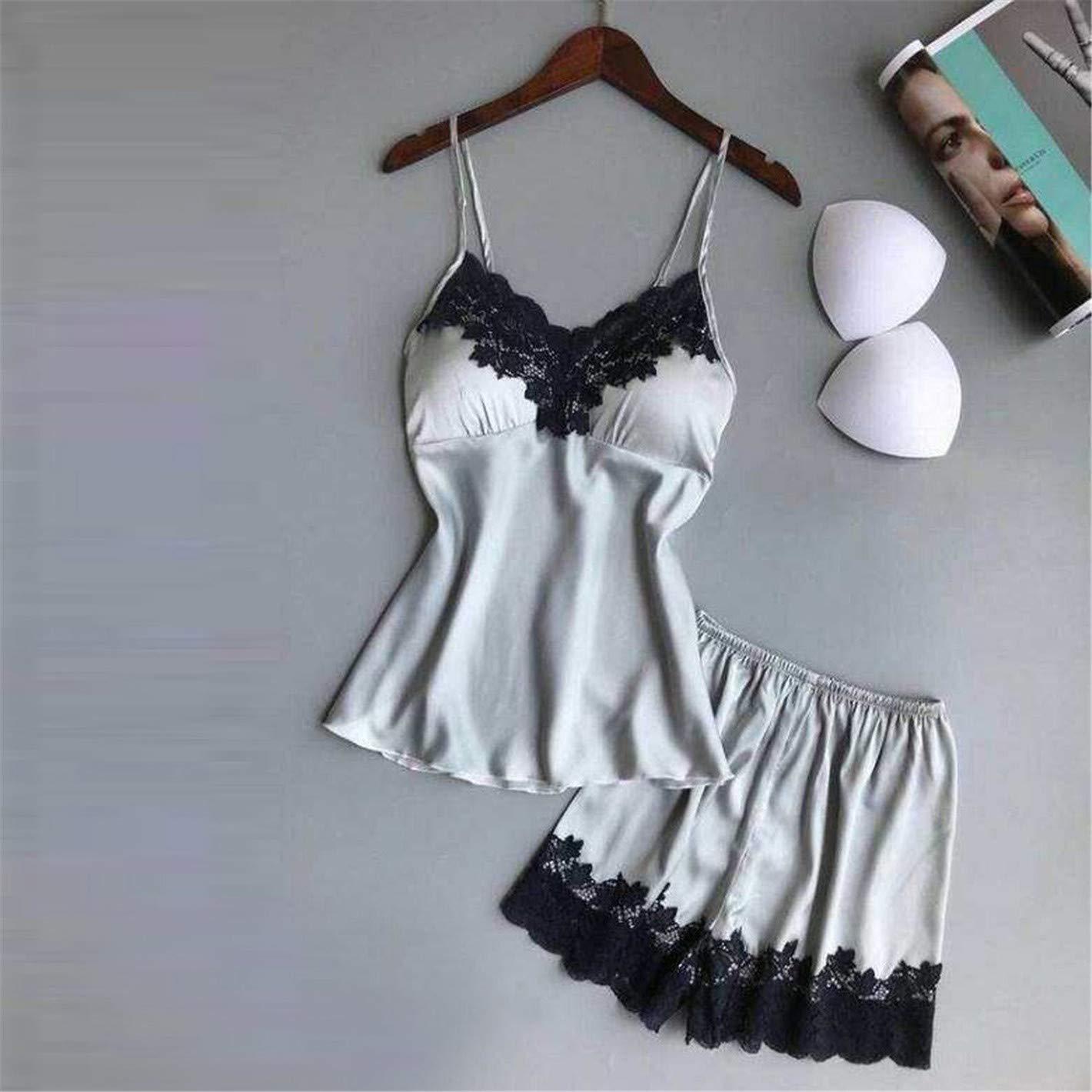 TIFENNY Women's Fashion Sexy Sling Lace Sleepwear Lingerie Temptation Underwear Jumpsuit 2019 New Soft Pajama Silver by TIFENNY_Shirts (Image #2)