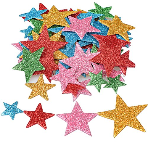 Foam Star (Wode Shop 210 Pieces Self Adhesive Star Stickers, Foam Glitter Colorful Star Shaped Wall Stickers(4 Size))
