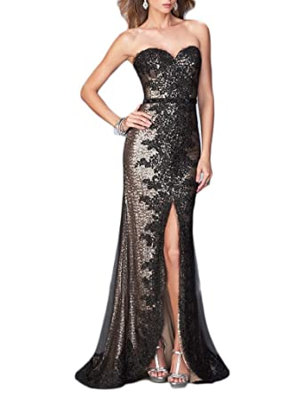 Monalia Womenss Long Sequins High Slit Prom Dresses Formal Gowns Size 2 Rose Gold