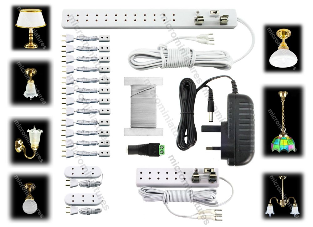 Dolls House Lighting and Connectors Starter Kit with Lights & 2 amp Power Supply (Transformer) Ready for 40 Dolls hose Type Bulbs MM-100-072 MicroMiniatures