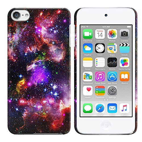 FINCIBO Case Compatible with Apple iPod Touch 5 6th Generation, Back Cover Hard Plastic Protector Case Stylish Design for iPod Touch 5 6 - Red Cosmo Nebula Galaxy
