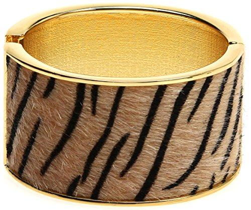 Lova Jewelry Wide Safari Animal Print Textured Fur Gold Tone Hinge Metal Bangle Bracelet