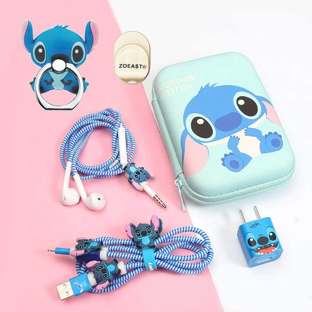 ZOEAST Upgrade Styles, Stitch Stitch Set DIY Protectors Apple Data Cable USB Charger Data Line Earphone Wire Saver Protector Compatible iPhone 5 5S SE 6 6S 7 8 Plus X IPad iPod iWatch TM