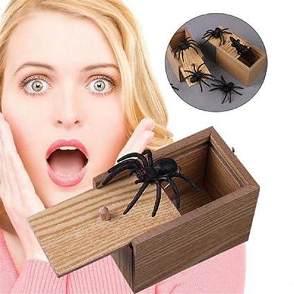 Kinder lustiges Geschenk aus Holz Streich Spinne Scare Box Witz lebensecht