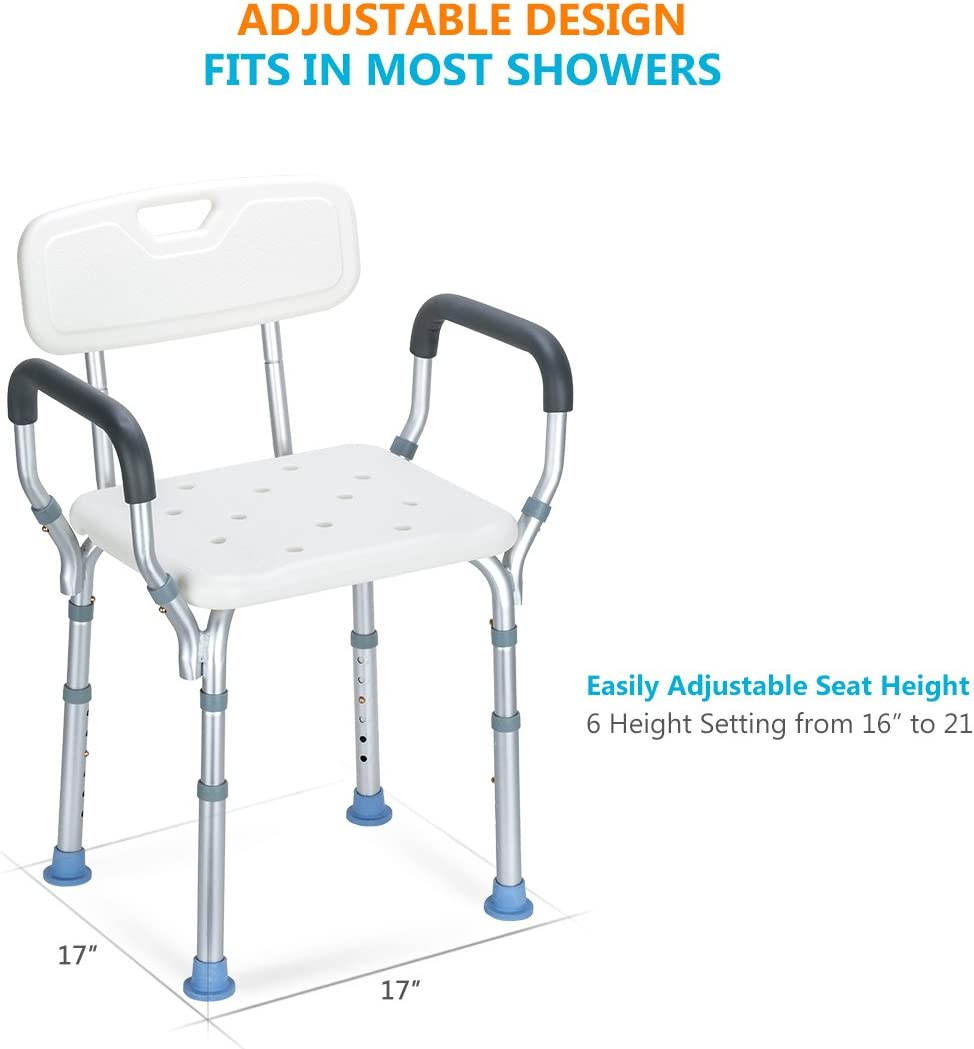 Oasisspace Heavy Duty Shower Chair With Back Bathtub Chair With Arms For Handicap Disabled Seniors Elderly Adjustable Medical Bath Seat Handles Non Slip Tub Safety Health