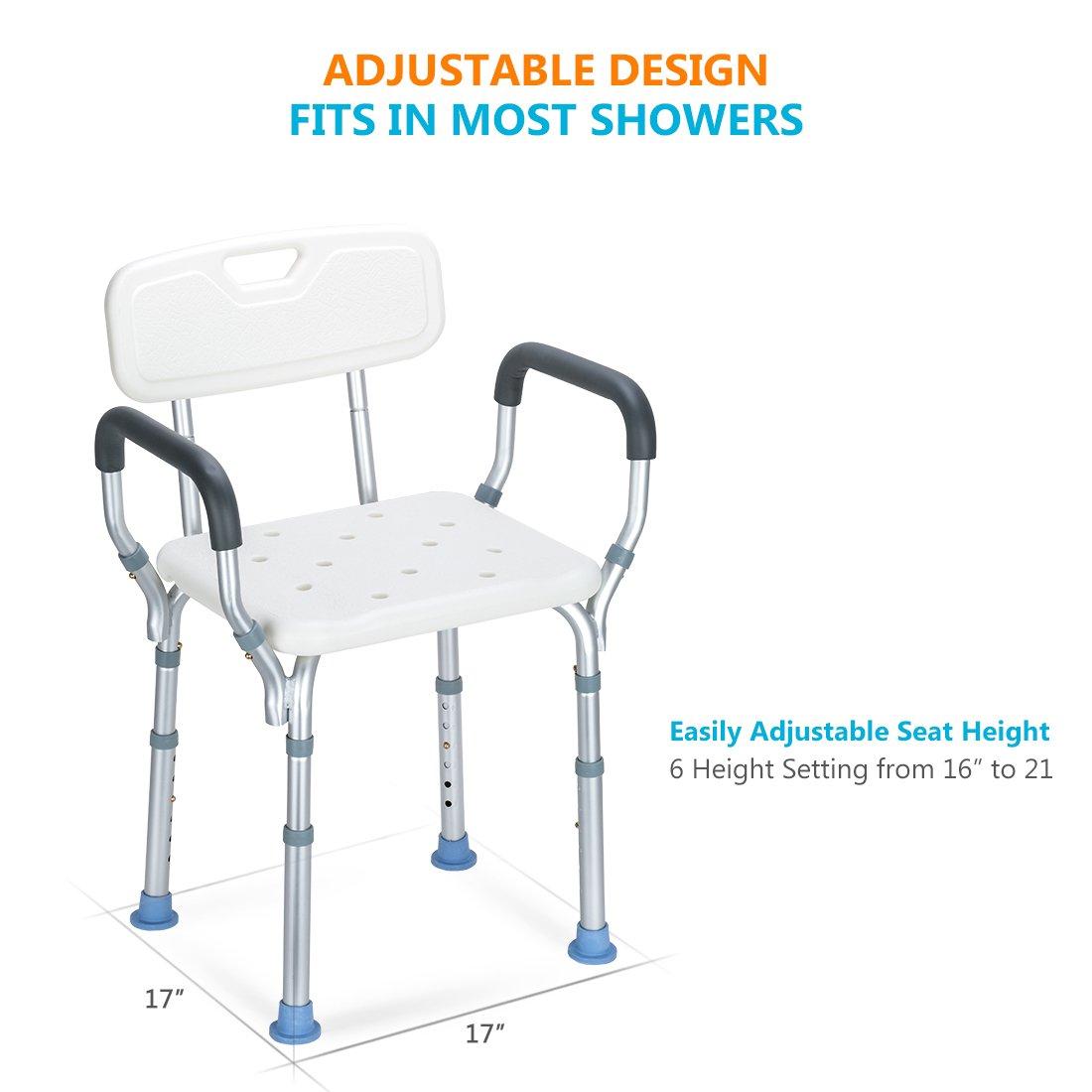 Amazon.com: oasisspace Heavy Duty silla de ducha con espalda ...