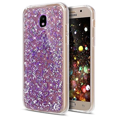 Funda Carcasa Protectora 360 Grados para Samsung Galaxy J3 2017 Samsung J330,Ukayfe Full Body Funda de silicona TPU en Transparente Ultra Slim Case Protección Completa Doble Cover Smartphone Móvil Acc Glitter-Violet#