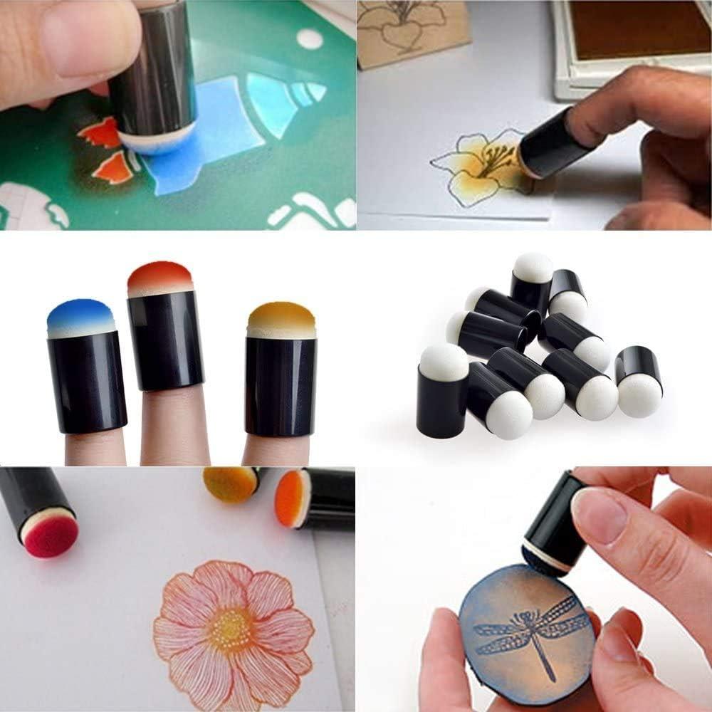 /Éponge Dauber 40 pi/èces Finger Sponge Daubers Set avec /étui de rangement pour estampage peinture encre pochoir artisanat en vrac craie fabrication de cartes Violet